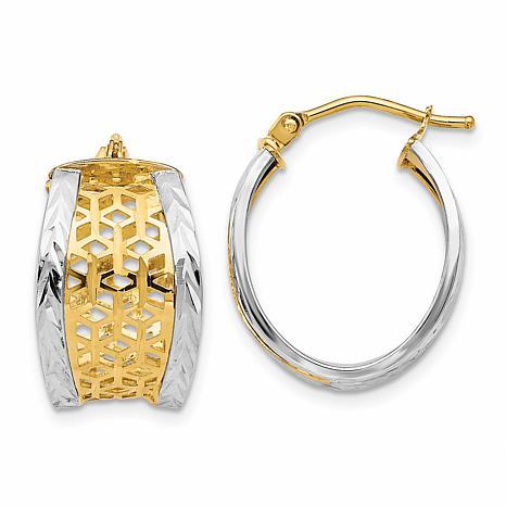 14K Two-Tone Diamond-Cut Cutout Hinged Hoop Earrings