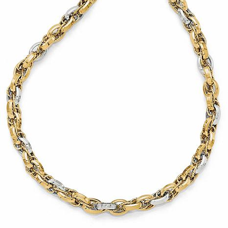 14K Two-Tone Polished Textured Fancy Necklace