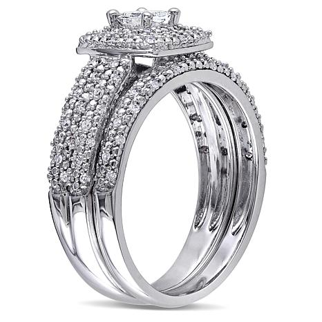 14K White 0.5ctw Princess and Round Diamond Bridal Set