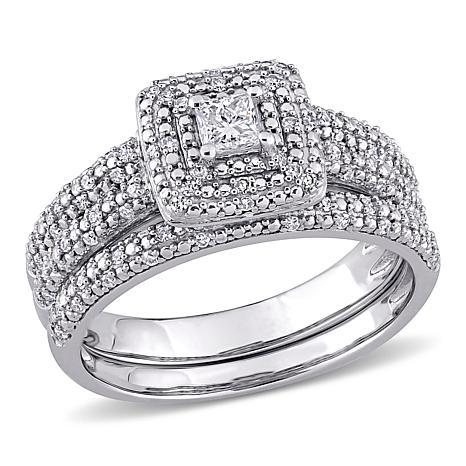 14K White 0.5ctw Princess and Round Diamond Bridal Set
