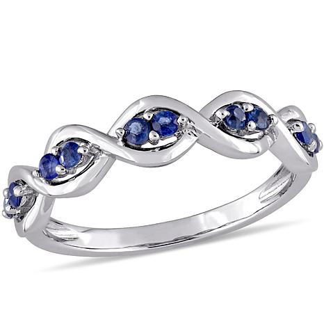 14K White Gold 0.27ctw Blue Sapphire Stackable Infinity Band Ring