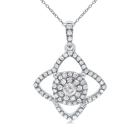 "14K White Gold 0.3ctw Diamond Star Halo Pendant with 18"" Chain"