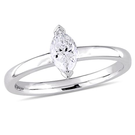14K White Gold 0.50ct Diamond Marquise Solitaire Engagement Ring