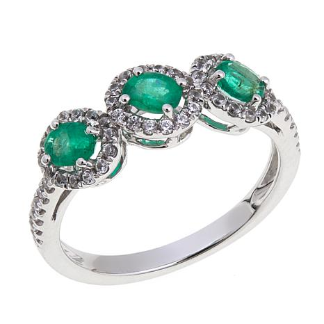 14K White Gold 0.75ctw Emerald and Zircon 3-Stone Ring