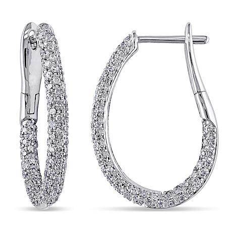14k White Gold 1 08ctw Diamond Pavé Hoop Earrings