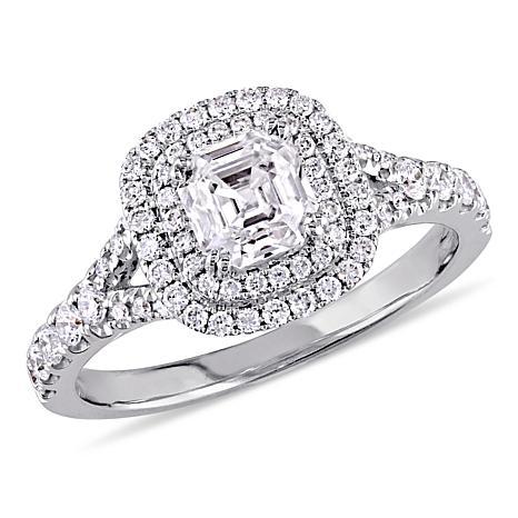 14K White Gold 1.18ctw Asscher-Cut Diamond Double Halo Engagement Ring