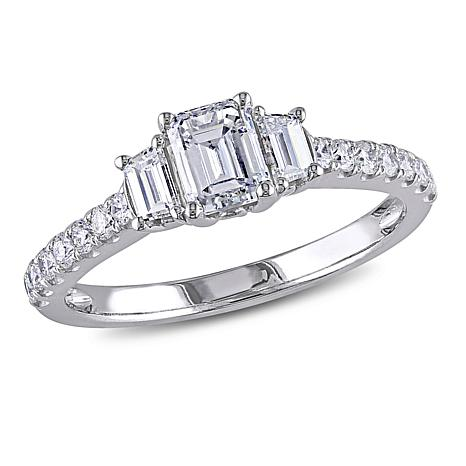 14K White Gold 1.25ctw Emerald-Cut 3-Stone Diamond Engagement Ring