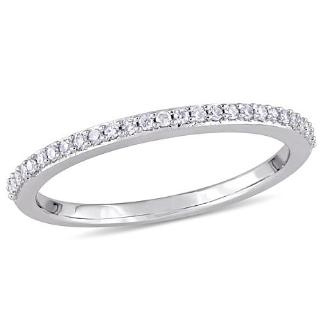 14K White Gold .13ct Diamond Semi-Eternity Band Ring