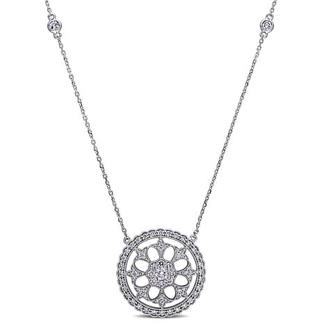 14K White Gold 1ctw Diamond Halo Drop Necklace