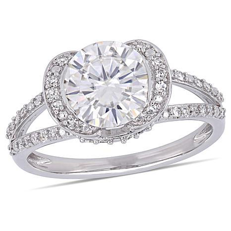 14K White Gold 2.25ctw Moissanite Solitaire and Diamond Accent Ring