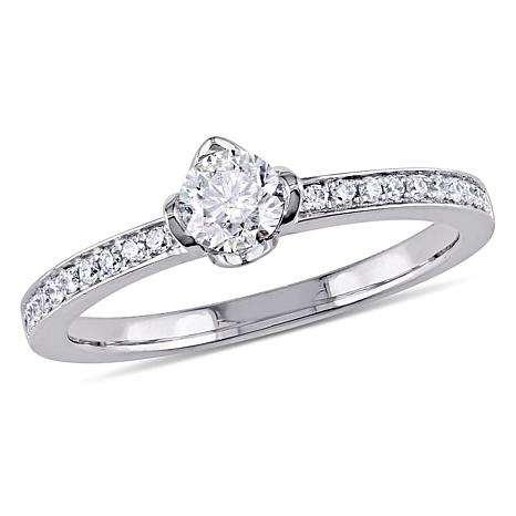 14k White Gold 495ctw Round Floral Diamond Engagement Ring