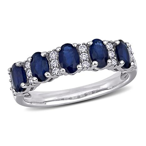 14K White Gold Oval Blue Sapphire and Diamond Semi-Eternity Ring