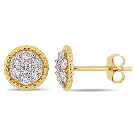 14K Yellow Gold 0.50 ctw Diamond Round Stud Earrings