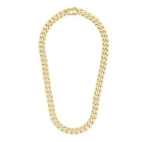 """14K Yellow Gold 13.5mm Polished Light Miami Cuban Chain Necklace - 24"""""""