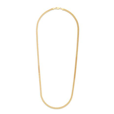 14K Yellow Gold 3.2mm Semi-Solid Square Franco Chain Necklace - 24""