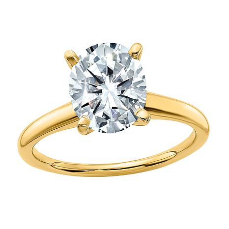 14K Yellow Gold 3ct Moissanite Oval-Cut Solitaire Ring