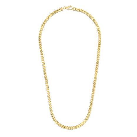 14K Yellow Gold 4.4mm Semi-Solid Square Franco Chain Necklace - 24""