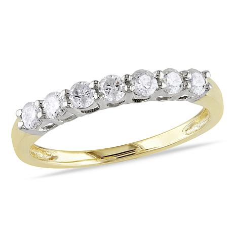 14K Yellow Gold 49ctw Diamond 7 Stone Anniversary Ring