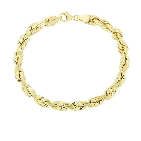 """14K Yellow Gold 5mm Solid Rope Chain Bracelet - 8"""""""