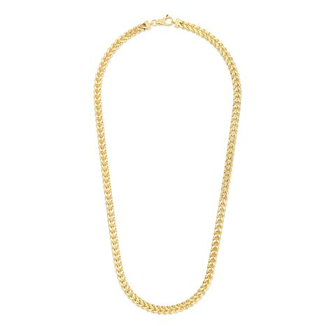 14K Yellow Gold 6.4mm Semi-Solid Square Franco Chain Necklace - 26""