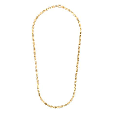 """14K Yellow Gold 6mm Solid Rope Chain Necklace - 24"""""""