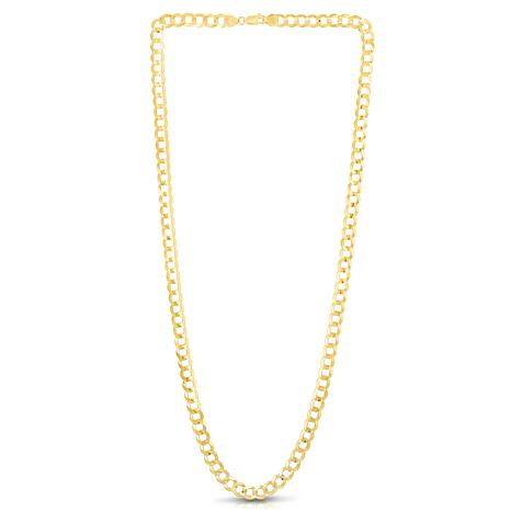 """14K Yellow Gold 7mm Diamond-Cut Comfort Curb Chain Necklace  - 24"""""""