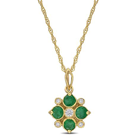 14K Yellow Gold Diamond Accent and Emerald Floral Pendant with Chain