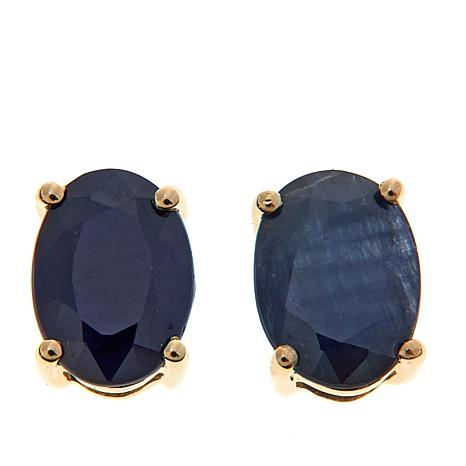 14K Yellow Gold Oval Gemstone Stud Earrings