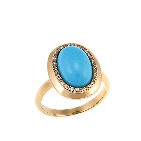 14K Yellow Gold Sleeping Beauty Turquoise and Diamond Ring