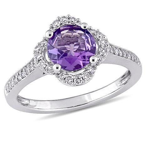 1.55ctw Amethyst and Diamond 14K White Gold Pavé Ring