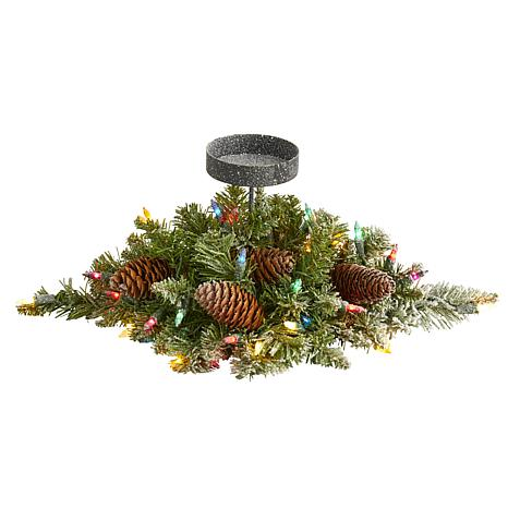 16 in. Flocked Artificial Christmas Pine Candelabrum with 35 Multic...