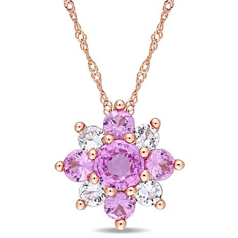 1.60ctw Pink and White Sapphire 14K  Star Pendant