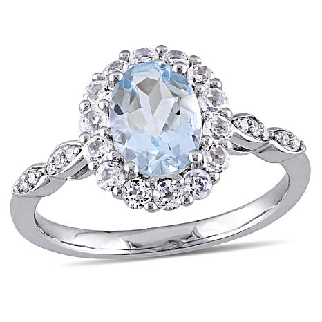 1.68ctw Aquamarine, White Zircon and Diamond 14K Ring