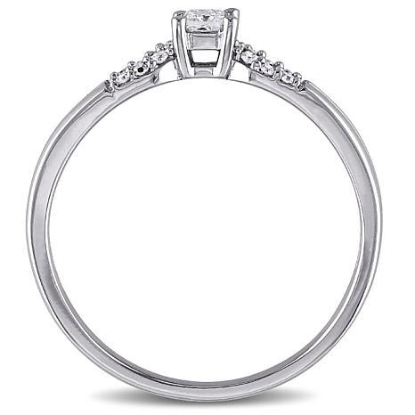 .16ctw White Diamond 10K Princess Split-Shank Ring