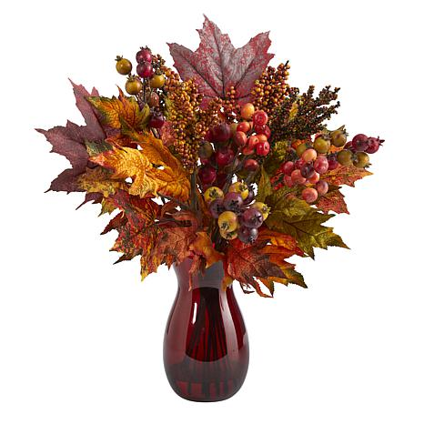 18 in. Maple Leaf and Berries Artificial Arrangement in Ruby Vase
