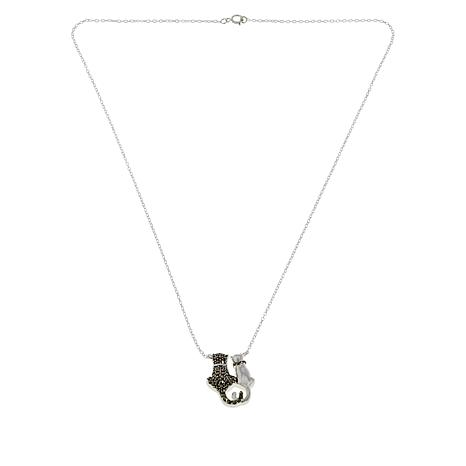 """18"""" Sterling Silver Marcasite Cat Couple Cable-Chain Necklace"""