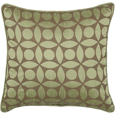 "18"" x 18"" Circle Design Pillow - Green/Brown"