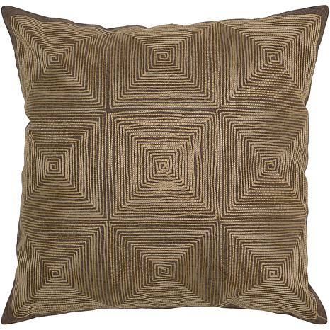 """18"""" x 18"""" Embroidered Cotton Pillow - Brown"""