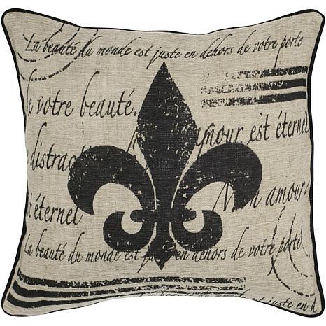 18 X Vintage Fleur De Lis Pillow Beige Black