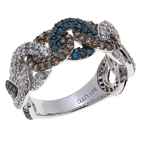 1.81ctw Blue, Brown and White Diamond Circle Band Ring