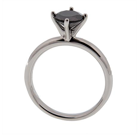 1ct Round-Cut Black Diamond Solitaire Sterling Silver Ring