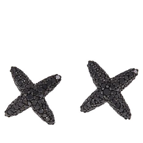 "1ctw Colored Diamond Sterling Silver ""X"" Earrings"