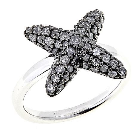 """1ctw Colored Diamond Sterling Silver """"X"""" Ring"""
