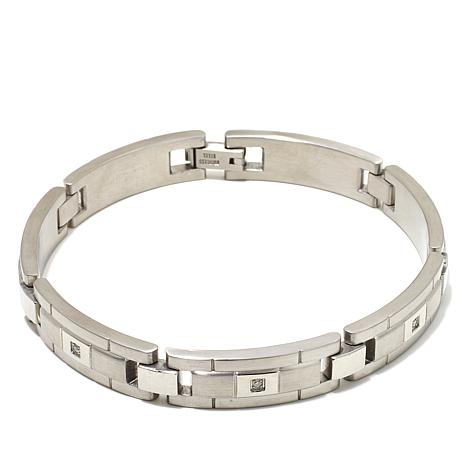 1ctw Diamond-Accented Men's Stainless Steel Link 8-1/2""