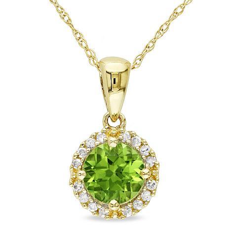 1ctw Peridot and White Diamond 10K Gold Pendant