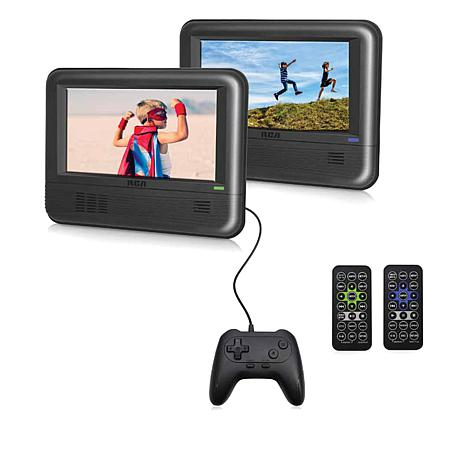"""2-pack 7"""" RCA Portable DVD Players with Car Kit, 20 Games & Controller"""