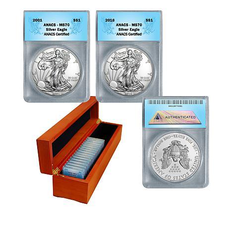 2001-2016 MS70 ANACS 16-Coin Silver Eagle Dollar Set