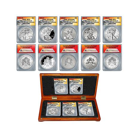 "2013 ANACS ""70"" 5pc Silver Eagle Dollars w/Wooden Box"