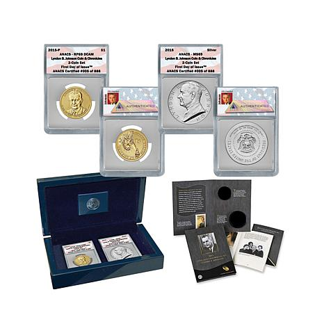 2015 ANACS 69 FDOI Lyndon Johnson Coin and Chronicles