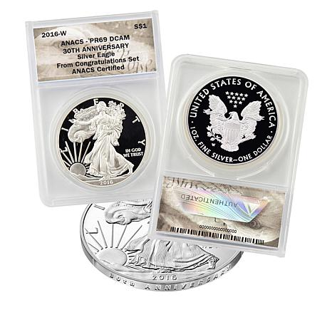 "2016-W PR69 DCAM ""Congratulations"" 30th Anniversary Silver Eagle Coin"